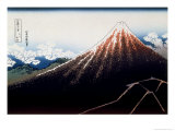 36 Views of Mount Fuji, no. 3: A Shower Below the Summit Giclee Print by Katsushika Hokusai