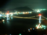 Kanmon Bridge, Night View Photographic Print