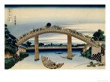 36 Views of Mount Fuji, no. 4: Through the Mannen Bridge at Fukagawa Wydruk giclee autor Katsushika Hokusai