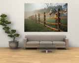 A Horse Watches the Mist Roll in over the Fields Reproduction murale géante par Richard Nowitz