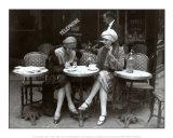 Op terras met koffie en sigaret, Parijs 1925 Print