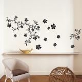 花(黒)ウォールステッカー・壁用シール ウォールステッカー