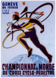 Championnat du Monde de Cross Cyclo-Pedestre Giclée-tryk af Noel Fontanet