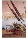 Geneve et le Mont-Blanc Giclee Print by  Elzingre