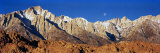 Rock Formations on a Mountain Range, Moonset over Mt Whitney, Lone Pine, California, USA Photographic Print by  Panoramic Images