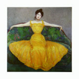 Lady in Yellow, c.1899 Art by Maximilian Kurzweil