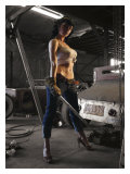 Garage Pin-Up Girl Giclee Print by David Perry