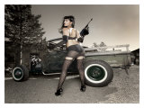Hot Rod Pin-Up Girl Giclée-Druck von David Perry