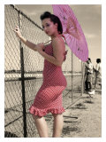 Pin-Up Girl with Parasol Giclee Print by David Perry