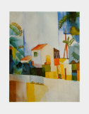 The Light-Coloured House, c.1914 Plakater af Auguste Macke