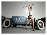 Hot Rod Samurai Pin-Up Girl Giclee Print by David Perry