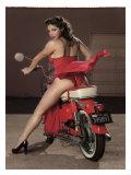 Motorcycle Pin-Up Girl Reproduction procédé giclée par David Perry