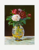 Vase with Peonies Posters by Édouard Manet