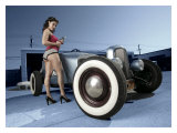 Hot Rod Pin-Up Girl Impression giclée par David Perry