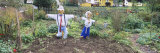 Scarecrows in a Garden, Northern Black Forest Region, Baden-Wurttemberg, Germany Photographic Print by  Panoramic Images