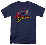 Superman - Flying Over Logo Distressed Shirt