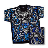 Fantasy - Blue Flame Skull T-Shirt
