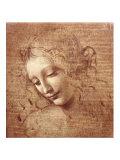 女の頭部(ラ・スカピリアータ) 1508年 ポスター : レオナルド・ダ・ヴィンチ