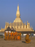 Great Stupa, Monks, Vientiane, Laos Photographic Print by Steve Vidler
