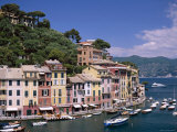 Coastal View, Village and Harbour and Yachts, Portofino, Liguria, Italy Photographic Print by Steve Vidler