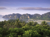 Ko Nok and Ton Sai Village from Ko Nai Viewpoint, Ko Phi Phi, Thailand Photographic Print by Alan Copson