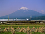 Mount Fuji, Bullet Train and Rice Fields, Fuji, Honshu, Japan Photographic Print by Steve Vidler
