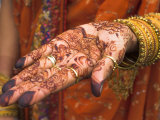 Wedding Guest Showing Henna Marking on Her Hand, Dubai, United Arab Emirates Photographic Print by Jane Sweeney
