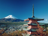 Mount Fuji and Pagoda, Hakone, Honshu, Japan Photographic Print by Steve Vidler