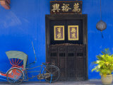 Old Rickshaws and House Front, Georgetown, Penang, Malaysia Photographic Print by Peter Adams