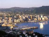 City Skyline and Harbour, Wellington, North Island, New Zealand Fotografisk tryk af Steve Vidler