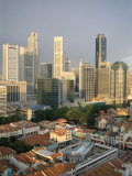 City Skyline and Chinatown Rooftops, Singapore Photographic Print by Steve Vidler