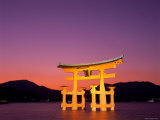Miyajima Island, Itsukushima Shrine, Torii Gate, Night View, Honshu, Japan Photographic Print by Steve Vidler
