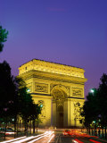 Arc de Triomphe, Night View, Paris, France Photographic Print by Steve Vidler