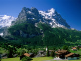 Town and Mountains, Grindelwald, Alps, Switzerland Photographic Print by Steve Vidler