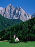 Dolomites Mountains and St Giovanni Church, Villnoss, Val Di Funes, Trentino, Italy Photographic Print by Steve Vidler