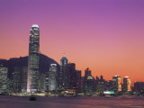 City Skyline and Victoria Harbour at Night, Hong Kong, China Photographic Print by Steve Vidler