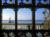 Dhow Through Window, Zanzibar, Tanzania Fotografisk tryk af Peter Adams