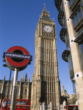 Westminster, Big Ben and Underground, Subway Sign, London, England Photographic Print by Steve Vidler