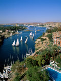 Nile River, Feluccas on the Nile River and Old Cataract Hotel, Aswan, Egypt Photographic Print by Steve Vidler