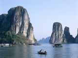 Halong Bay, Karst Limestone Rocks, House Boats, Vietnam Photographic Print by Steve Vidler