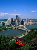 Duquesne Incline Cable Car and Ohio River, Pittsburgh, Pennsylvania, USA Photographic Print by Steve Vidler
