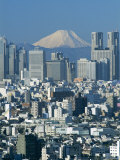 City Skyline and Mount Fuji, Tokyo, Honshu, Japan Photographic Print by Steve Vidler