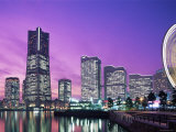 Night View of Minatomirai, Yokohama Pier, Yokohama, Honshu, Japan Photographic Print by Steve Vidler