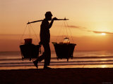 Kuta Beach, Local Vendor, Sunset, Bali, Indonesia Photographic Print by Steve Vidler