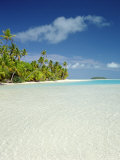 Palm Trees and Tropical Beach, Aitutaki Island, Cook Islands, Polynesia Photographic Print by Steve Vidler