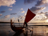 Kuta Beach, Outrigger Boat and Boatman, Sunset, Bali, Indonesia Photographic Print by Steve Vidler