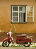 Red Moped, Sighisoara, Transylvania, Romania Photographic Print by Russell Young