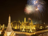 Grand Palace, Fireworks, Night View, Bangkok, Thailand Photographic Print by Steve Vidler