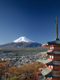 Mount Fuji and Pagoda, Honshu, Japan Photographic Print by Steve Vidler