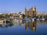Town Skyline, St.Joseph Church and Harbour, Msida, Malta Photographic Print by Steve Vidler
